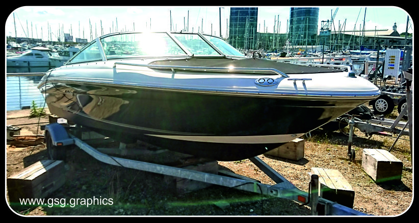 Searay metallic grey boat wrap