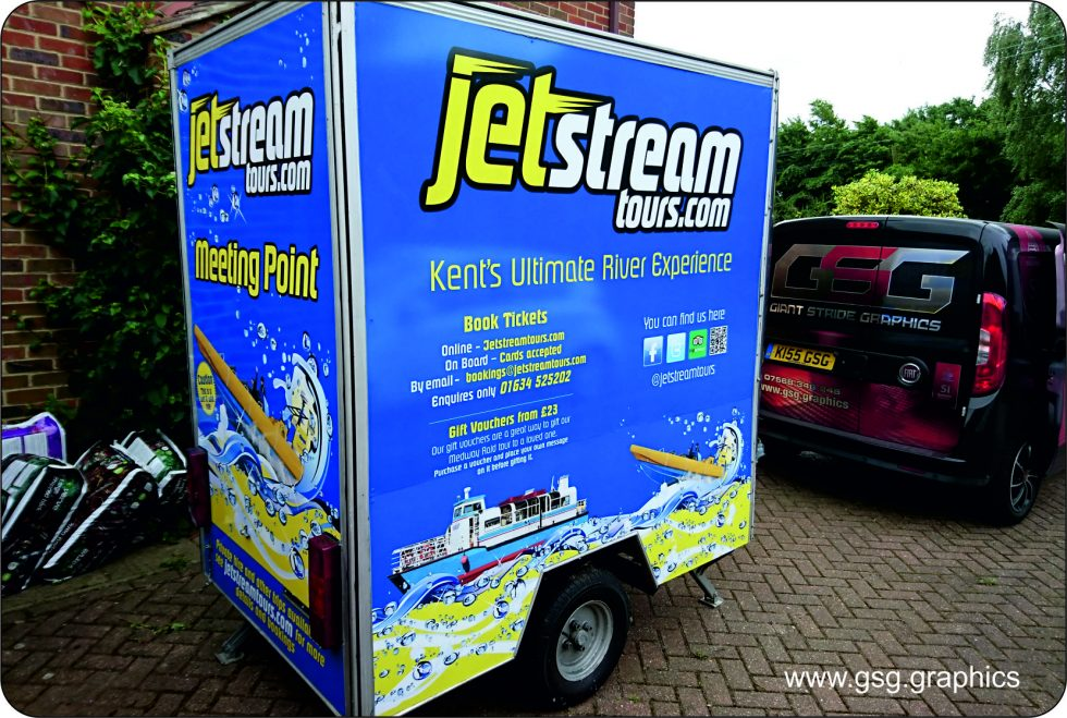 Van Graphic - Jet Stream trailer printed with panels of ACM